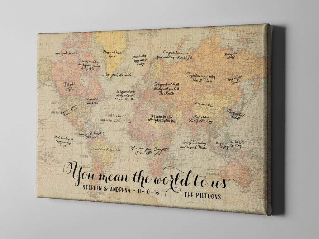 Amazon Com Off Canvas Guest Book Unique Wedding Guest Book Ideas Vintage World Map Destination Wedding Rustic Signature Guestbook Cgb152 Handmade