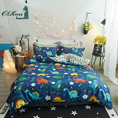 ORoa Cute Kids Students Bedding Set 3 Pieces Reversible Cartoon Fish Pattern Duvet Cover Boys and Girls 100% Cotton Full Size (Full/Queen, Dinosaur) (Dinosaur Bedding Full Size)