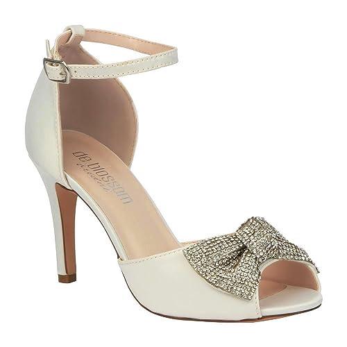 a122754fe66 de blossom bridal Women s Satin Rhinestone Bow Peep Toe Mid Wedding Heel  with Ankle Strap Ivory