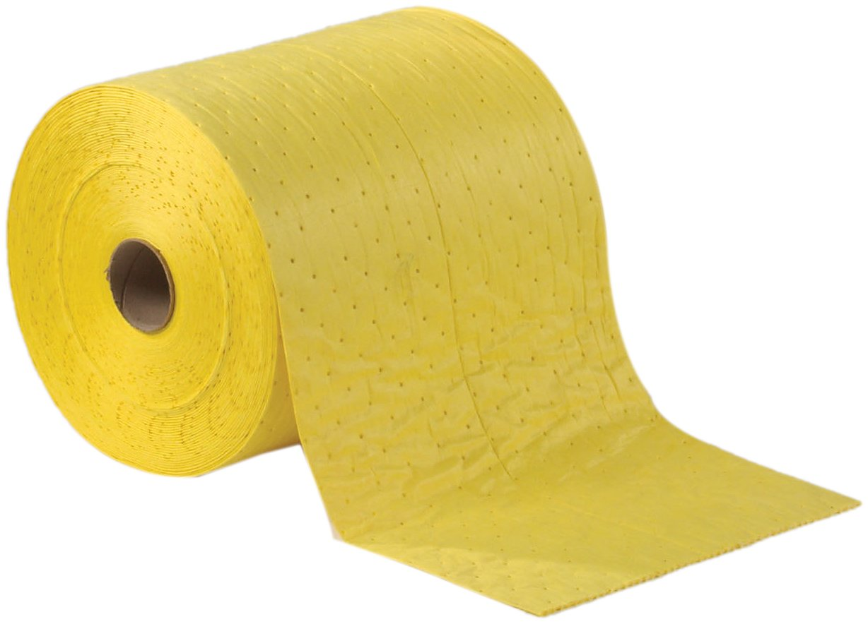 ESP XMBYRF Polypropylene Extra Heavy Weight MeltBlown Fine Fiber Chemical Hazmat Absorbent Roll, 150' Length x 30'' Width, Yellow