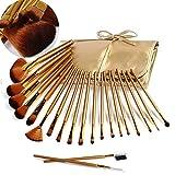 DE'LANCI Pro 21Pcs Golden Synthetic Cosmetic Foundation Blending Kabuki Makeup Brush Set Face Blush Concealer Eyeshadow Contouring Make Up Brushes Kit Tools with Leather Brush Bag