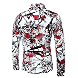 Cloudstyle Mens Shirt Stylish Slim Fit Button Down Long Sleeve Floral Shirt