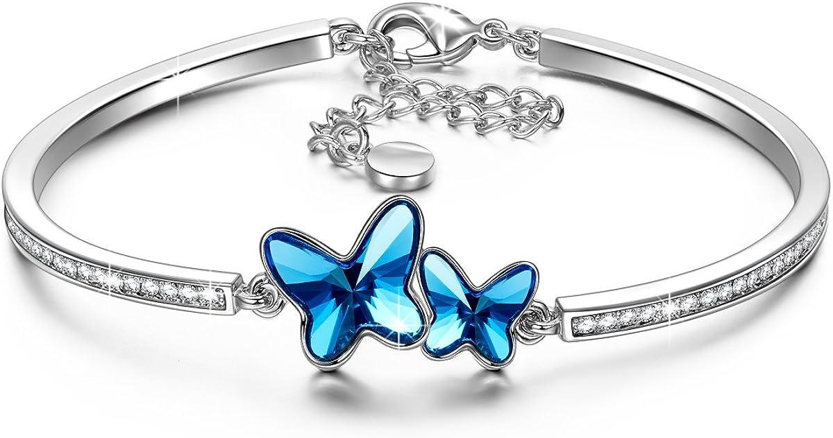 Susan Y Regalo para Mamá, Sueño de Mariposa Pulsera Mujer Swarovski Cristales Esposa Hija, Joyería para Ella, Hipoalergénicas