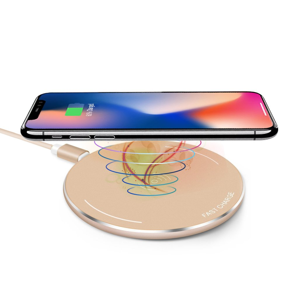 Wireless Charger,gearlifee Ultra Thin Fast Charging Pad Portable Qi-Certified Apyretic Anti Slip Mobile Phone Charger for iPhone X,iPhone 8/8 Plus,Samsung Galaxy S8/S7/S7 Edge/S6/S5,Note 8 (Gold)