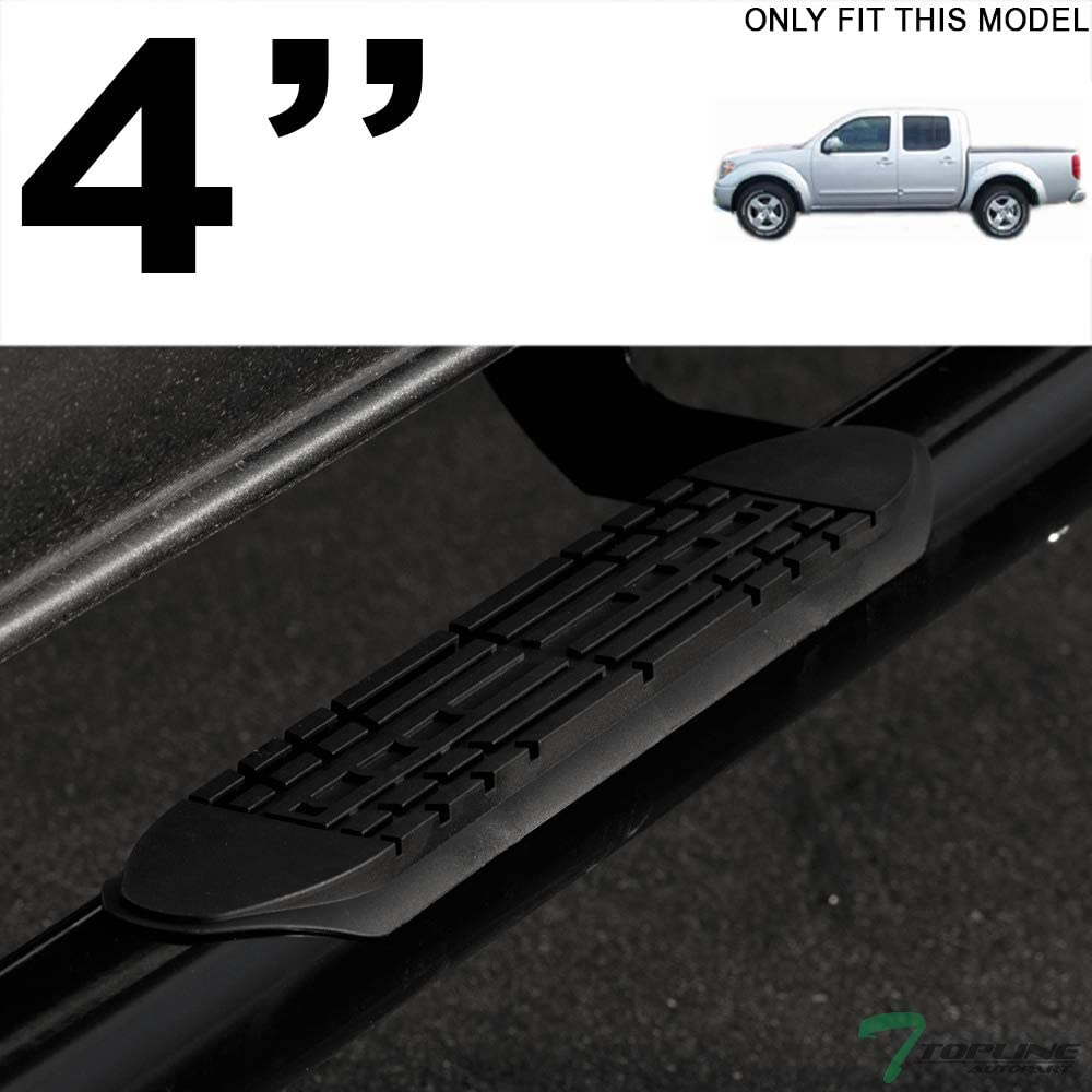 Topline Autopart 4 Oval Matte Black Side Step Nerf Bars Rail Running Boards For 05-20 Nissan Frontier Crew Cab
