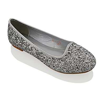 ESSEX GLAM Womens Glitter Flats Slip ON Ladies Ballerina Bridal Prom Party Pumps Shoes Size (