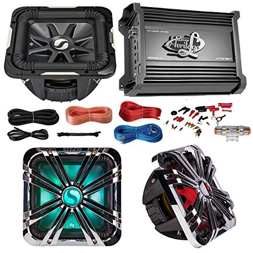 Car Subwoofer And Amp Combo: Kicker 11S12L74 12 Audio 4-Ohm Subwoofer Speaker + 12 Chrome Grill With LED Lighting + Lanzar 2000W Mono Block Stereo Amplifier + 8 Gauge Marine Amplifier Installation (Remote Control Ma Amp)