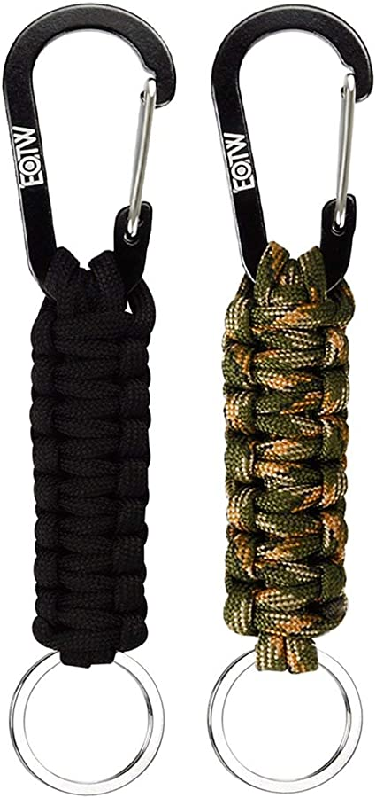 GOOTRADES Firefighter Paracord Survival Lanyard Keychain with HK Hook Tactical Keyring Black