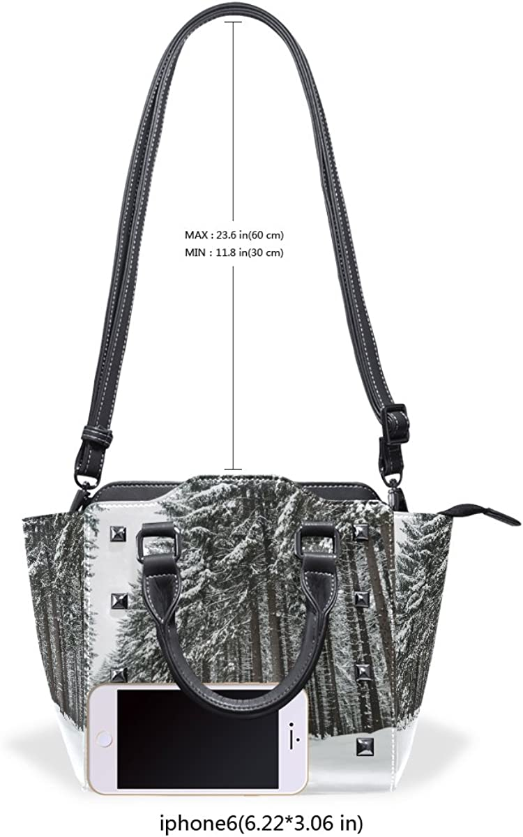 Winter Tree Snow Leather Handbags Purses Shoulder Tote Satchel Bags Womens