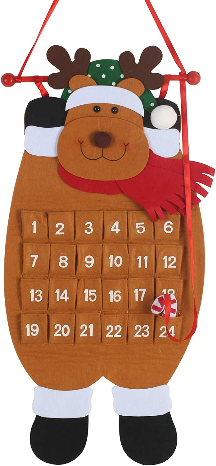 MEZOOM Christmas Advent Hanging Calendar Xmas Felt Countdown Calendar with 24 Pockets Reusable Fabric Reindeer for Kids Gifts Wall Door Hanging Decoration Home Office Classroom Holiday Decor