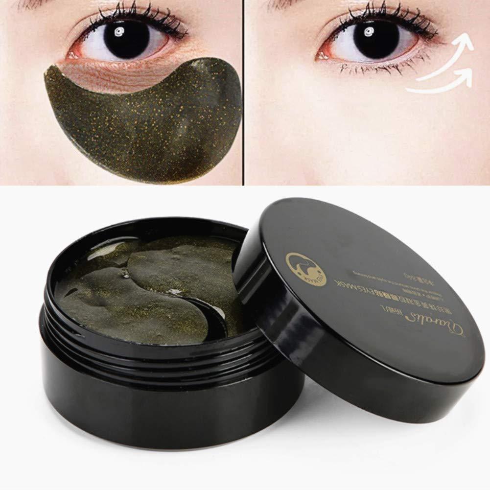60pcs Kollagen Augen Maske schwarze Perlen Augen-Pads für die Entlastung der dunklen Kreis-Puffines Antifalten-befeuchtende Augenklappe Sonew