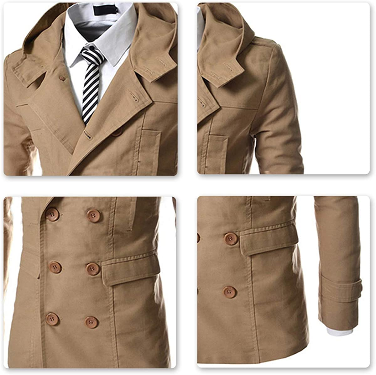 AOWOFS Mens Coat Hooded Trenchcoat Short Regular Fit Jacket Pea Coat Double Breasted Overcoat
