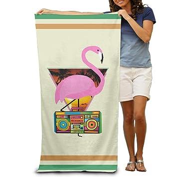 UKGroup - Toallas de baño para niños, diseño de Palmera de Flamenco de DJ, absorbentes y Suaves: Amazon.es: Hogar