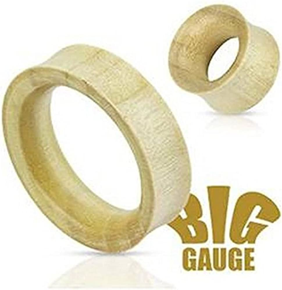 """Inspiration Dezigns White Crocodile Wood Saddle Fit Hollow Organic Tunnels up to 2"""" - Sold as Pairs"""