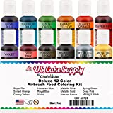 U.S. Cake Supply by Chefmaster Airbrush Cake Color Set - The 12 Most Popular Colors in 0.7 fl. oz. (20ml) Bottles