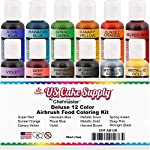 U.S. Cake Supply by Chefmaster Airbrush Cake Color Set - The 12 Most Popular Colors in 0.7 fl. oz. (20ml) Bottles 4 Chefmaster Airbrush Colors are highly concentrated edible airbrush food colors with superior strength and are the brightest and truest colors available Colors come in sealed bottles with easy-to-use flip-top dispenser bottles Achieve an endless spectrum of magnificent colors with these intermixable airbrush colors