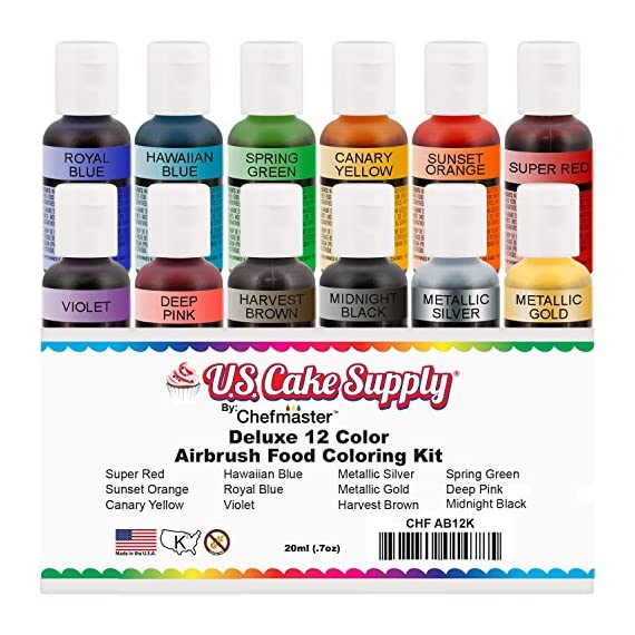 U.S. Cake Supply by Chefmaster Airbrush Cake Color Set - The 12 Most Popular Colors in 0.7 fl. oz. (20ml) Bottles 1 Chefmaster Airbrush Colors are highly concentrated edible airbrush food colors with superior strength and are the brightest and truest colors available Colors come in sealed bottles with easy-to-use flip-top dispenser bottles Achieve an endless spectrum of magnificent colors with these intermixable airbrush colors