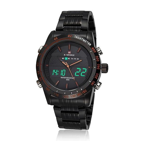 NAVIFORCE NF9024 Reloj de Hombres Cuarzo de Doble Tiempo Reloj Deportivo con Función de Cronómetro de Alarma de Retroiluminación Cronómetro: Amazon.es: ...
