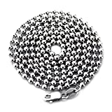 "LONG SOLID STERLING 925 SILVER BALL CHAIN DOG-TAG NECKLACE 28"" LONG 3MM WIDE ITALY"