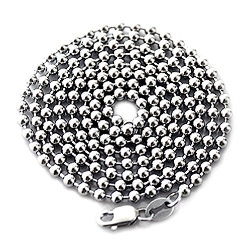 LONG SOLID STERLING 925 SILVER BALL CHAIN DOG-TAG NECKLACE 28