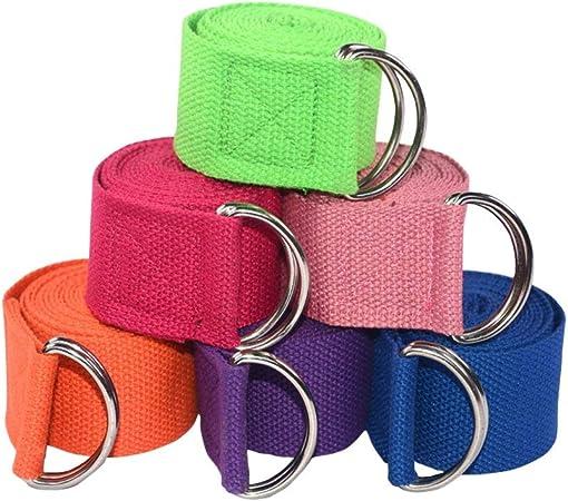 LSTC Cinturón elástico de Yoga Hebilla de Anillo en D Correa de algodón para Yoga Correa Ajustable para Entrenamiento de Yoga 183cm 1 Pieza-Color Aleatorio: Amazon.es: Hogar