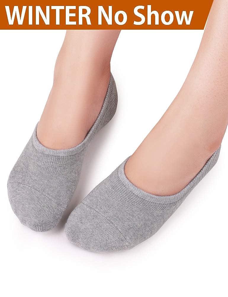 VERO MONTE 4Pairs Thick Warm No Show Socks Women Terry Cotton Liner Socks Winter