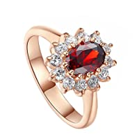 Gespout Noble Diamond Ring Elegant Crystal Rings Wedding Jewelry For Women Girlfriend Diameter (Red,Size M)