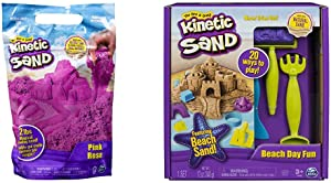 Kinetic Sand The Original Moldable Sensory Play Sand, Pink, 2 Pounds & Beach Day Fun Playset with Castle Molds, Tools, and 12 oz. of Kinetic Sand for Ages 3 and Up