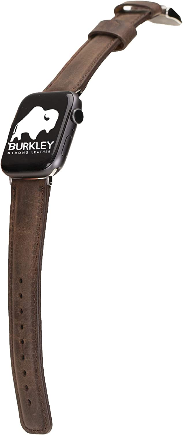Burkley Case Premium Genuine Leather Padded Replacement Watch Band compatible with Apple Watch Series 5 - 4 ( 44 mm ) / 3 - 2 - 1 ( 42 mm )