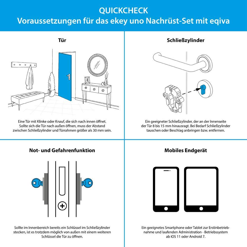 Ekey uno Fingerprint con batería y radio, incluye accionamiento de cerradura de puerta eqiva BLUETOOTH® Smart – Juego de reequipamiento con batería para todas las puertas comunes: Amazon.es: Industria, empresas y ciencia