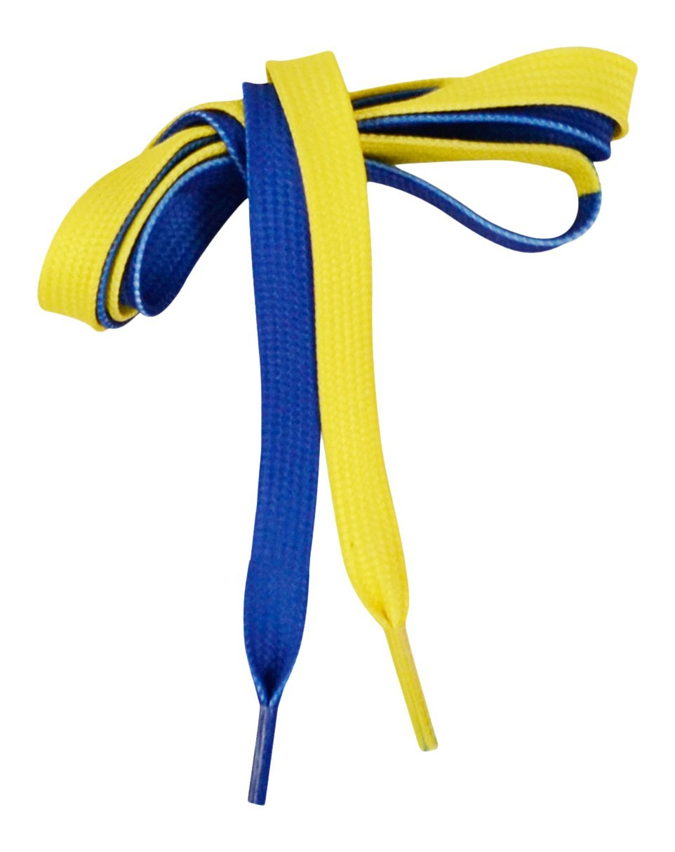 Adapt-Ease Multi Color Tying Aid Learning Shoelaces, Blue/Yellow, 44.5'' X .4''