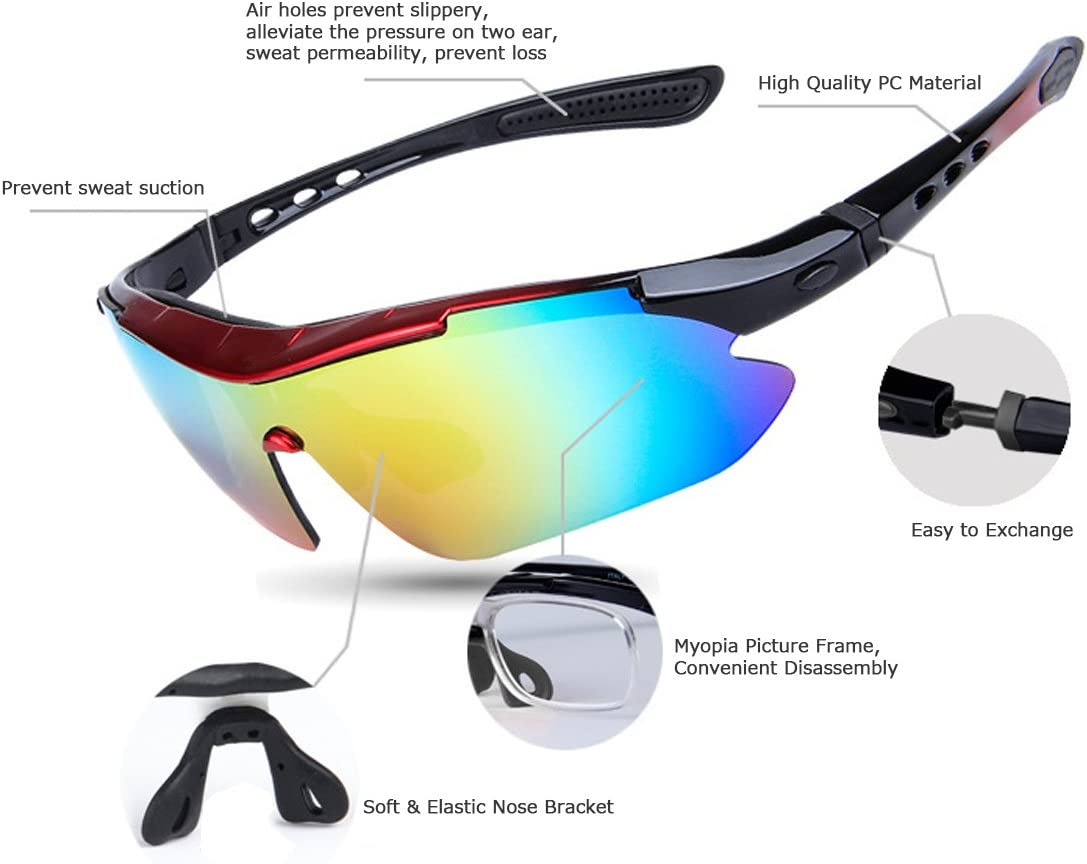 Hltd Gafas de Sol Deportivas Polarizadas 5 lentes intercambiables UV400 Protección Deportes Gafas de sol para los deportes al aire libre Ciclismo Correr Conducir Senderismo Esquí: Amazon.es: Deportes y aire libre