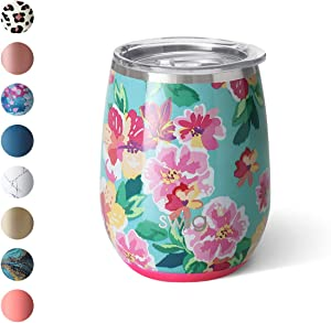 Swig Life 14oz Triple Insulated Stainless Steel Stemless Wine Tumbler with Slider Lid, Dishwasher Safe, Vacuum Insulated Travel Wine Glass in Island Bloom Print (Multiple Patterns Available)