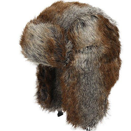 Explorer Ushanka Winter Trapper Faux Fur Pilot Hat with Ear Flaps CHOCOLATE 7 3/8 (Eskimo Outfit)