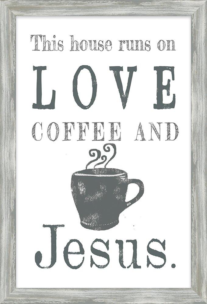 Carpentree Love Coffee and Jesus Framed Art Multi