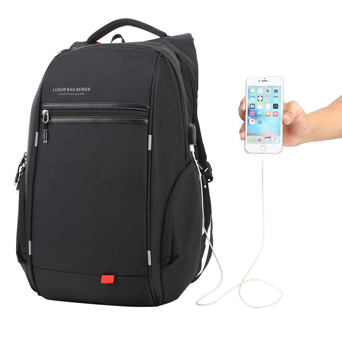 School bag with wheels singapore - Luxur Nylon Waterproof Laptop Backpack Casual School Business Travel Daypack Fit 16 Inch Laptop Black