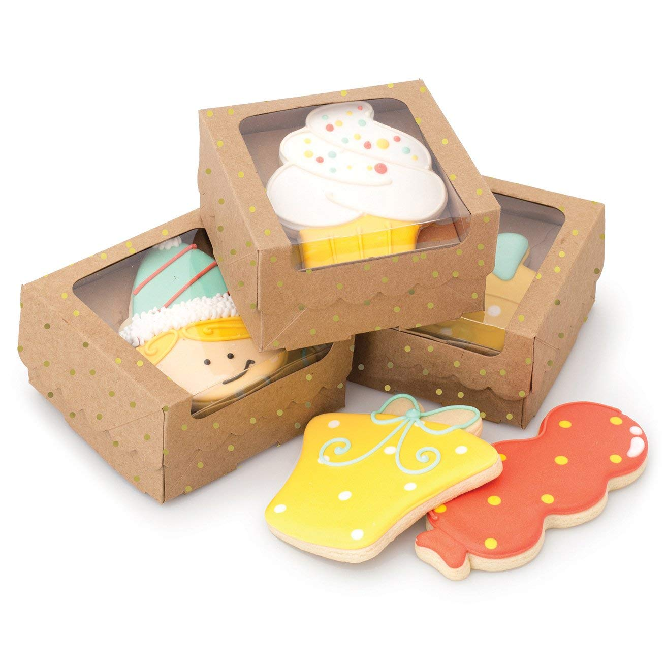American Crafts 374548 Sweet Sugarbelle Single Cookie Box Kraft with Gold Dots