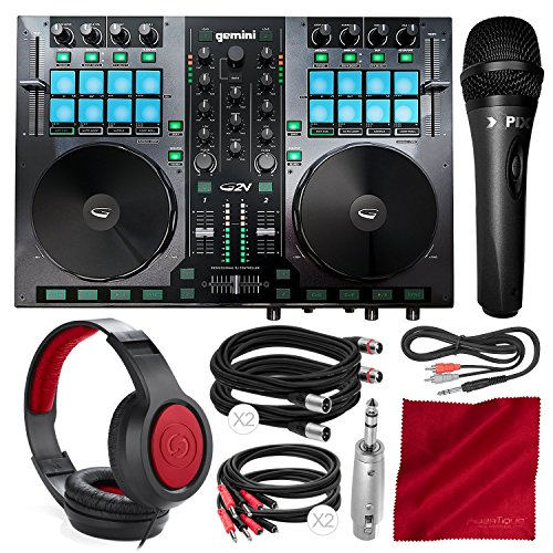 (Gemini G2V Virtual DJ Controller and Mixer with Samson Over-Ear Headphones, Xpix Condenser Microphone, and Deluxe Accessory Bundle)