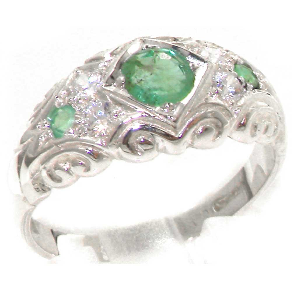 925 Sterling Silver Natural Emerald and Diamond Womens Band Ring - Sizes 4 to 12 Available
