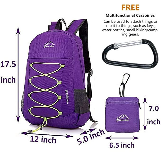 Amazon.com: Lumbor37 Ultra Lightweight Packable Backpack, Durable Waterproof Travel Hiking Backpack, Small Handy Backpack Foldable Compact Camping Outdoor ...