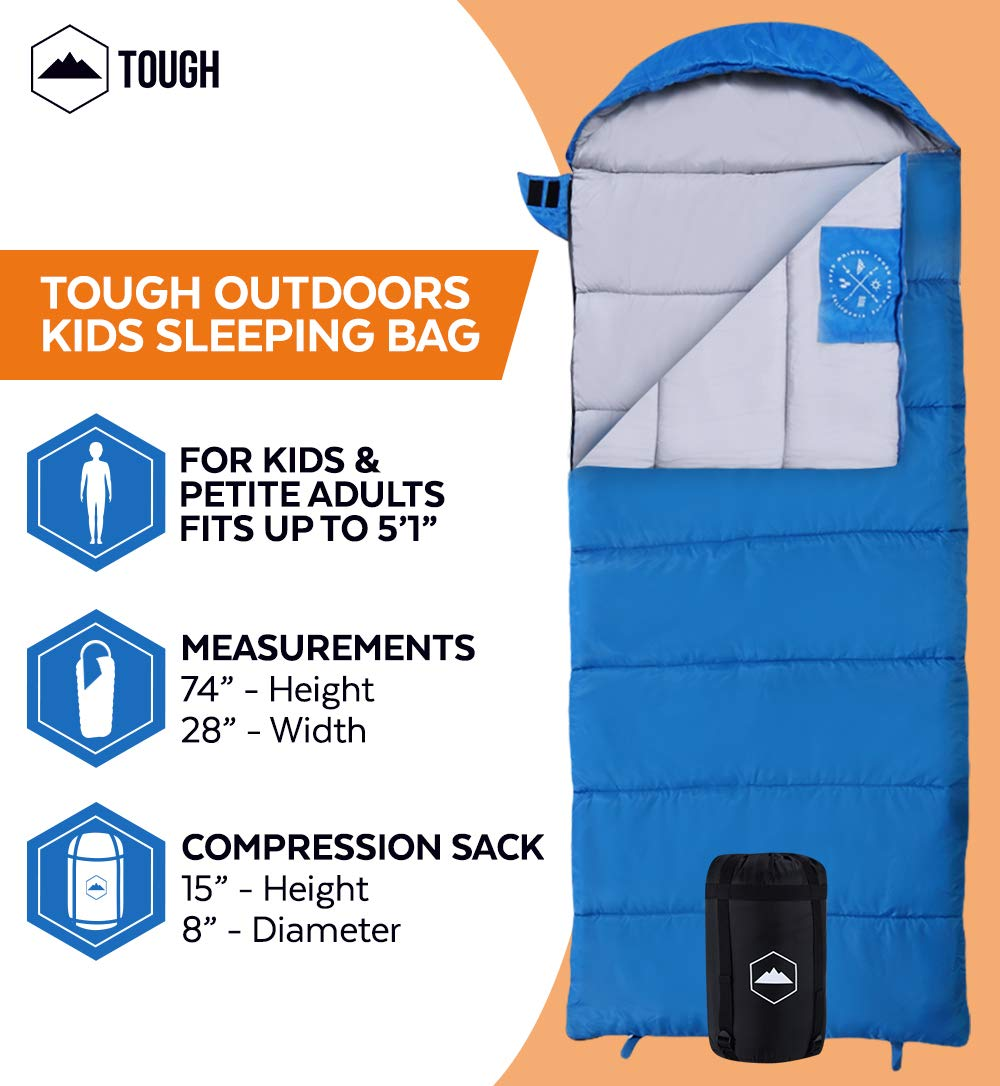 """Tough Outdoors Kids Sleeping Bag for Girls, Boys, Youth & Teens - Perfect for Warm & Cool Weather Camping, Children's Sleepovers & Nap Time - 3-Season, Lightweight & Compact - Fits Kids up to 5'1"""" 5"""
