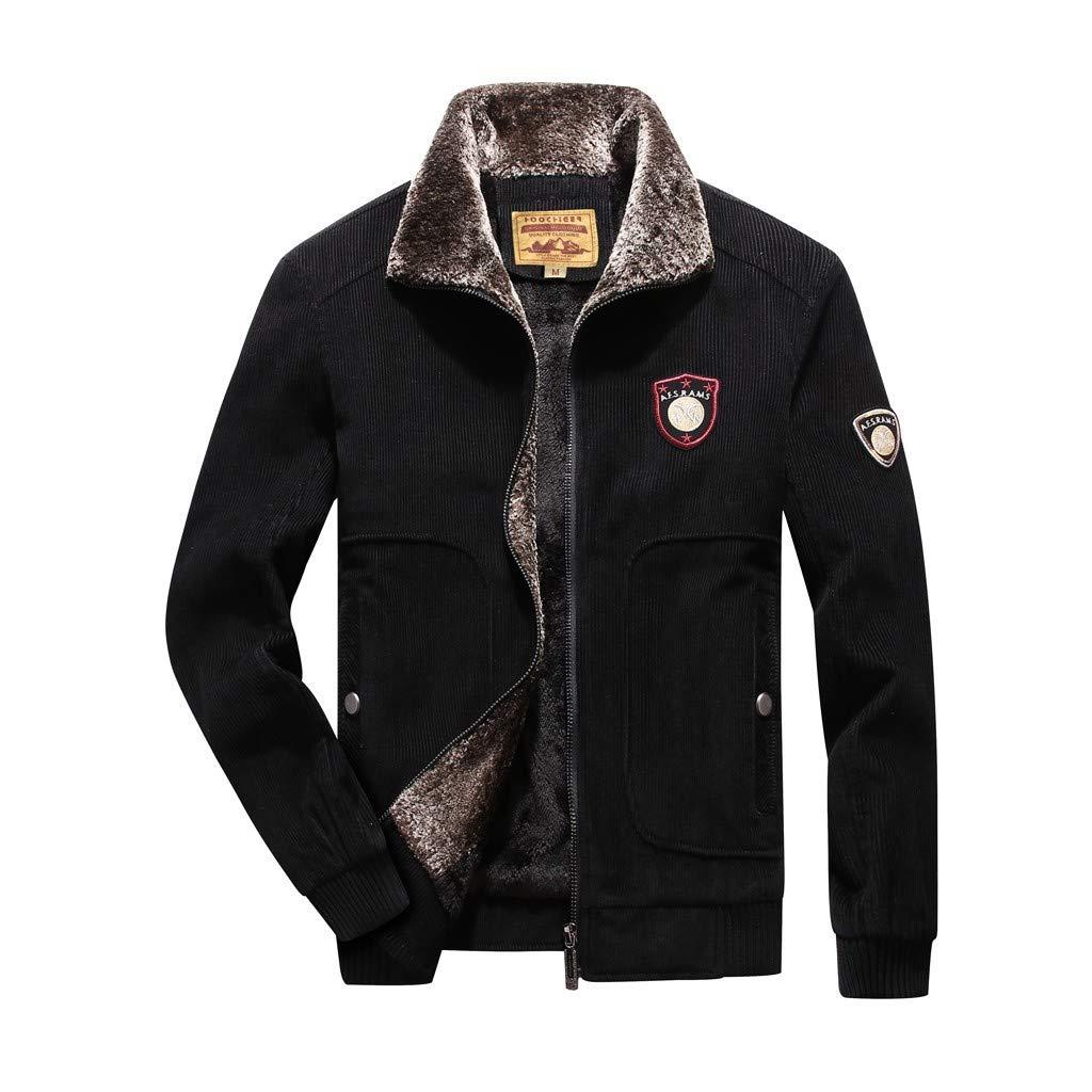 Mens Warm Corduroy Coat Autumn Casual Waterproof Quick-Drying Breathable Sport Outdoor Outerwear Beautyfine Black by Beautyfine Sweatshirts