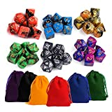KUUQA DND Dice Set Dungeons and Dragons MTG RPG Polyhedral Dice Set with Pouches 7 x 6 (42 Pieces)