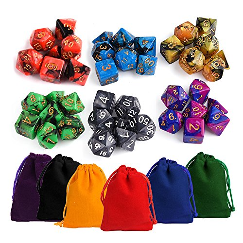 Kuuqa Polyhedral Dice Set Mixed Colors with Colorful Pouches Table Game Dungeons and Dragons DND MTG RPG Dice Complete Set, 7 x 6 (42 pieces) Polyhedral Set
