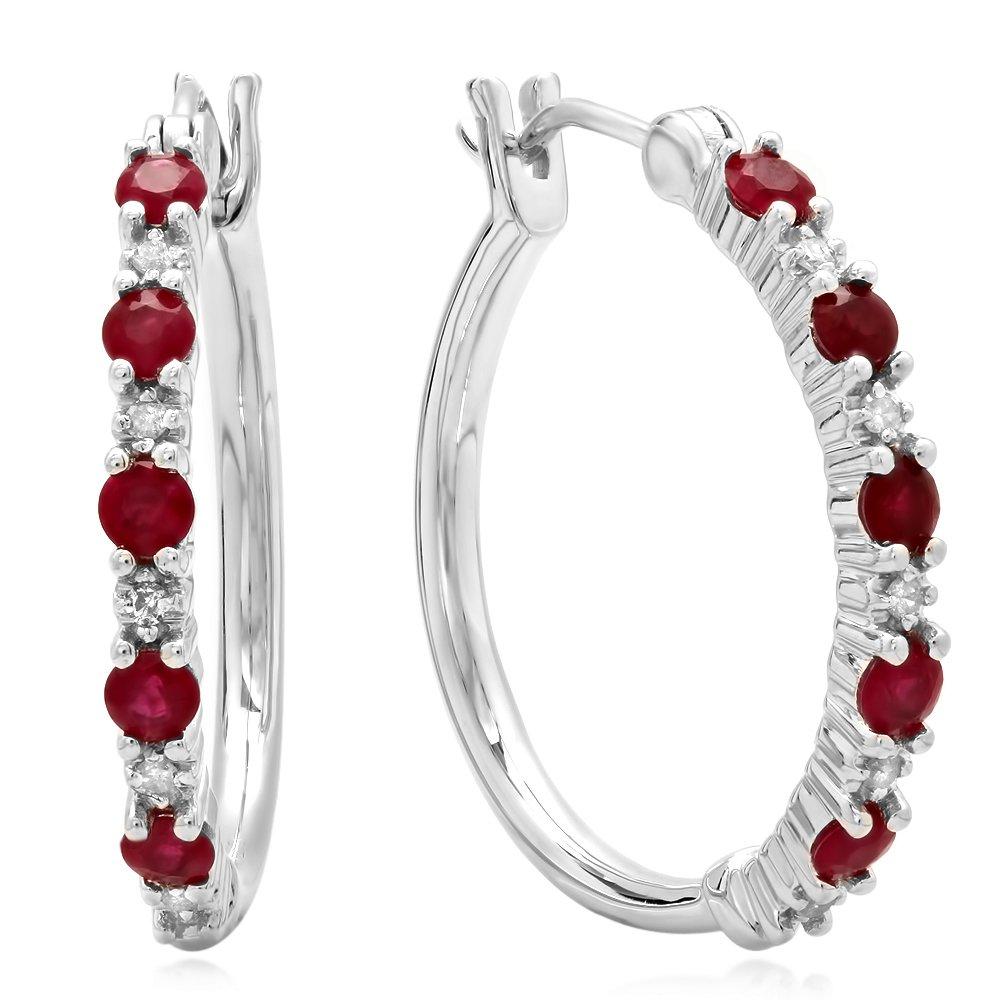 Sterling Silver Round Ruby & White Diamond Ladies Fine Dainty Hoop Earrings