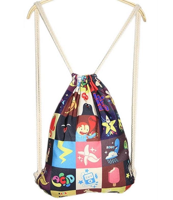 FEOYA Mochila Bolsa Infantil con Cordones Tipo Saco niños niñas Mujer de cuerdas: Amazon.es: Deportes y aire libre