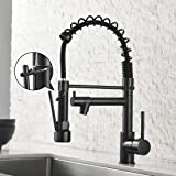 Spring Commercial Kitchen Sink Faucet,Modern Single Handle Oil Rubbed Bronze Kitchen Faucets with Pull Down Sprayer
