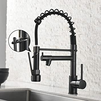 Spring Commercial Kitchen Sink Faucet Modern Single Handle Oil Rubbed Bronze Kitchen Faucets With Pull Down Sprayer Amazon In Home Improvement