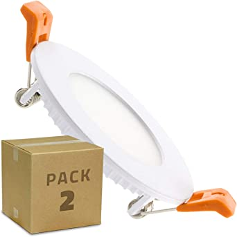 LEDKIA LIGHTING Pack 2 Placa LED Circular 3W Blanco Neutro 4000K - 4500K: Amazon.es: Iluminación