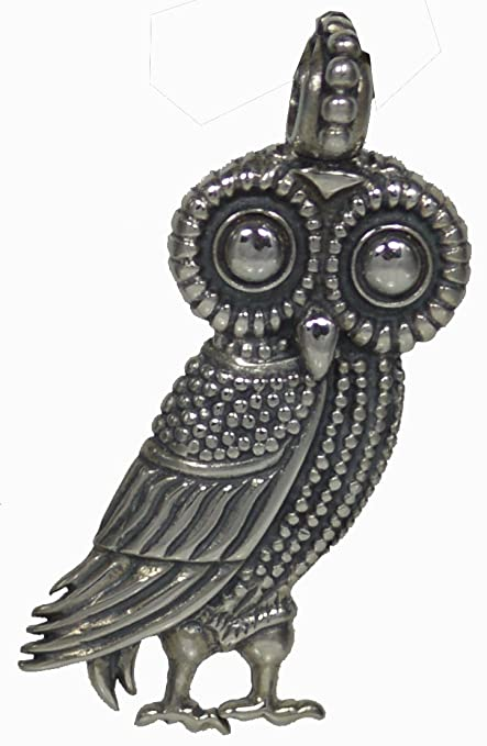 Amazon Com Owl Of Wisdom Large Silver Pendant High